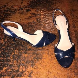 Calvin Klein Navy Patent Leather Sandals - 8